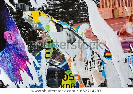 Advertising posters paper scraps on wall as urban background Stock photo © stevanovicigor