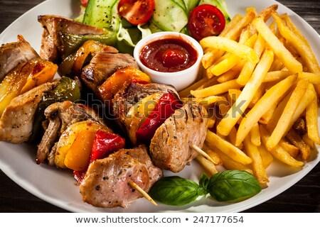 鶏 ケバブ フライドポテト ケチャップ ディナー 野菜 ストックフォト © Digifoodstock