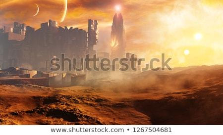 Stad woestijn gestileerde weg zonsondergang ontwerp Stockfoto © tracer