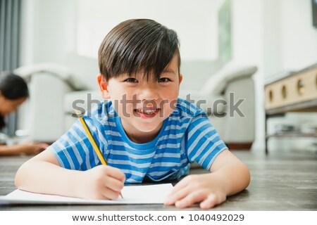 мало · мальчика · синий · жилет · шорты · иллюстрация - Сток-фото © bluering