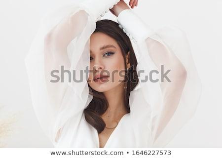Fiatal menyasszony gyönyörű nő esküvői ruha stúdió arc Stock fotó © user_9834712