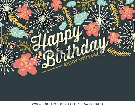 Gelukkige verjaardag kaart hand geschilderd aquarel Stockfoto © pakete