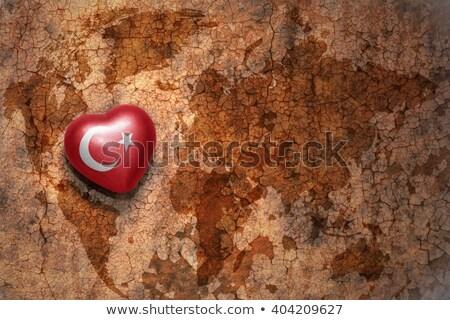 Turkey map on vintage crack paper background Stock photo © michaklootwijk
