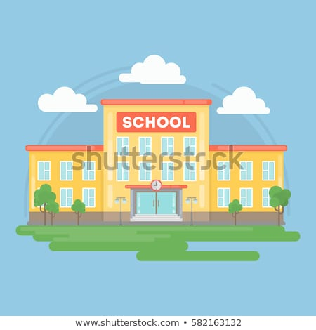 school building and yard flat landscape vector illustration stock photo © vectorikart