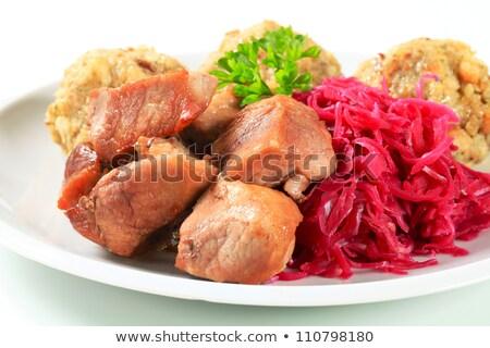 Roast pork with Tyrolean dumplings and red kraut Stock photo © Digifoodstock