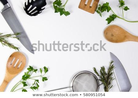 conjunto · cozinha · utensílios · prata · branco · chef - foto stock © studioworkstock