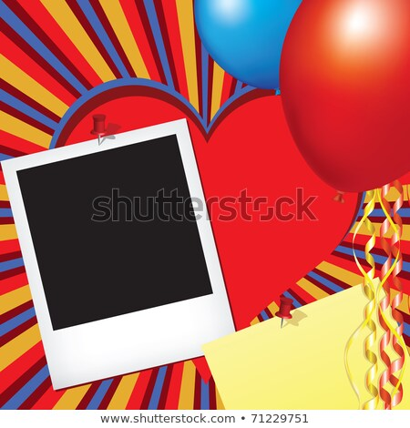 photo frame and note pad with party decorations stock photo © illustrart