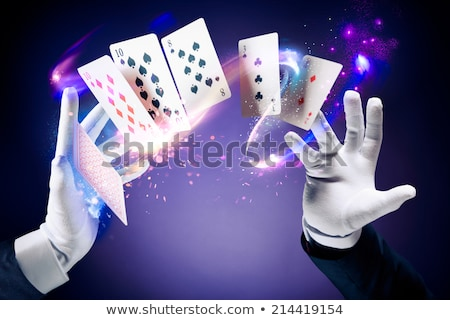 Photo stock: Magicien · astuce · cartes · à · jouer · jeunes · heureux