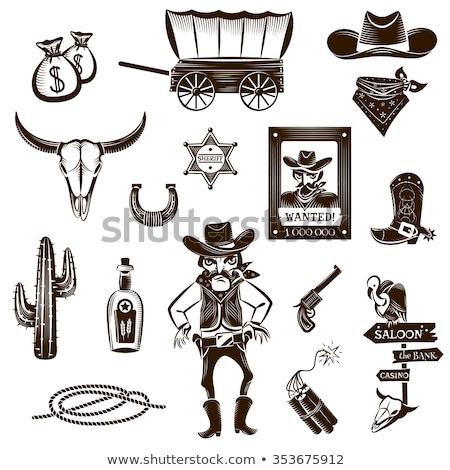 revolver wild west flat icons vector illustration Stock photo © konturvid