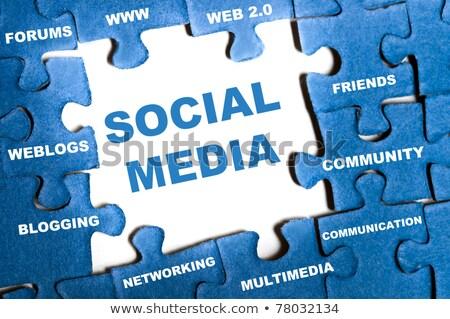 Rompecabezas palabra medios de comunicación social piezas del rompecabezas construcción tecnología Foto stock © fuzzbones0