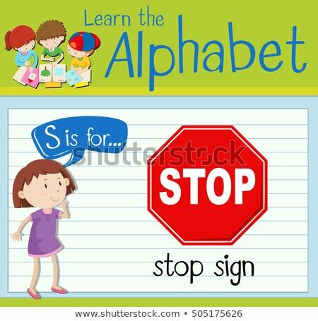 Carta sinal de parada ilustração crianças criança fundo Foto stock © bluering