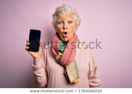 verward · senior · vrouw · mooie · oude · vrouw · grijs · haar - stockfoto © phakimata
