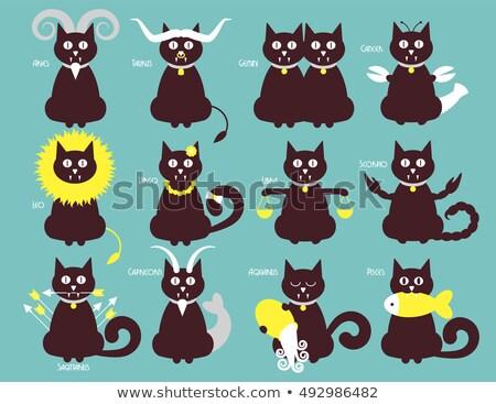 кошки · зодиак · иконки · вектора · дизайна · астрономия - Сток-фото © kali