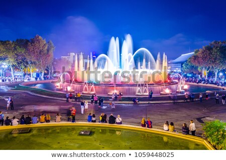 Night view of Magic Fountain light show in Barcelona, Spain Stock photo © digoarpi