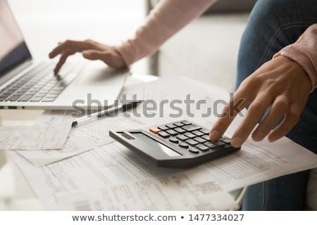 Számítás ezüst számológép toll számok papír Stock fotó © simply