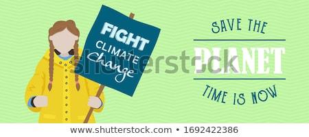 Cartoon Earth protesting with a sign Stock photo © zsooofija