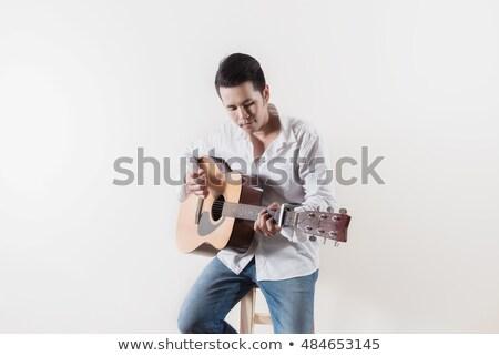 Tini gitáros szék western gitár kő Stock fotó © meinzahn