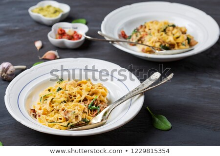 tagliatelle with bacon and parsley Stock photo © M-studio