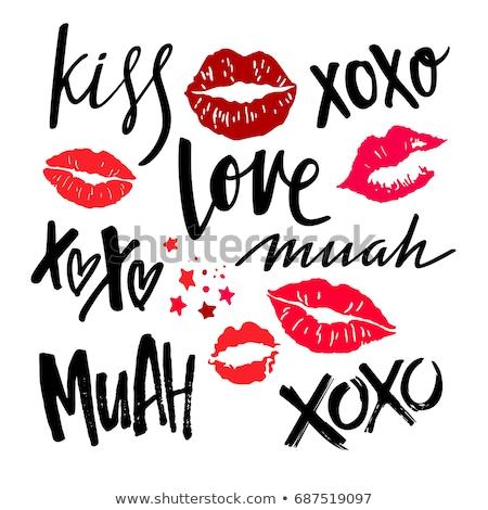 Csók kézzel írott kalligráfia szeretet dizájn elem terv Stock fotó © Anna_leni