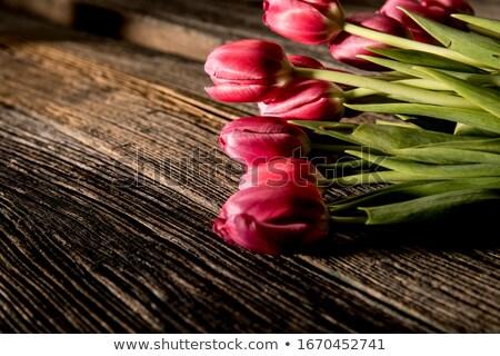 Piros tulipánok fa asztal szívek kék felső Stock fotó © Lana_M