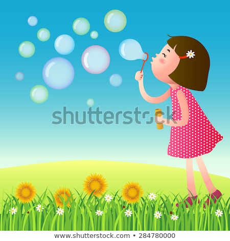 Sunflower on the lawn with bubbles.