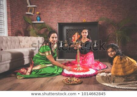 twee · mooie · diwali · brand · vlam · cultuur - stockfoto © sarts
