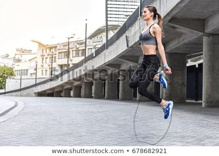 幸せ 小さな フィットネス女性 ジャンプ ロープ スタジアム ストックフォト © Yatsenko