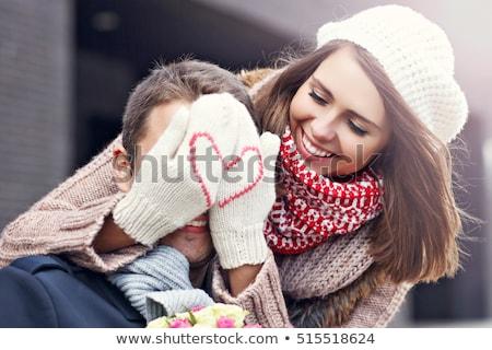 cute · paar · vergadering · buiten · cafe - stockfoto © deandrobot