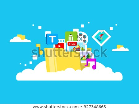 Cloud Storage Web Button Isolated. Flat Style Stock photo © robuart