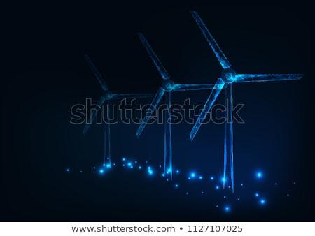 Három energia szélturbinák mező Stock fotó © fresh_5380518