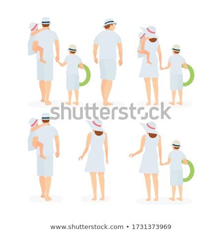 hátulnézet · nő · fürdőruha · tengerpart · áll · divat - stock fotó © deandrobot