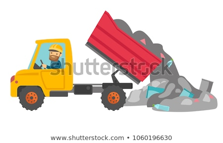 Pracownika spychacz śmieci zdenerwowany asian stałego Zdjęcia stock © RAStudio