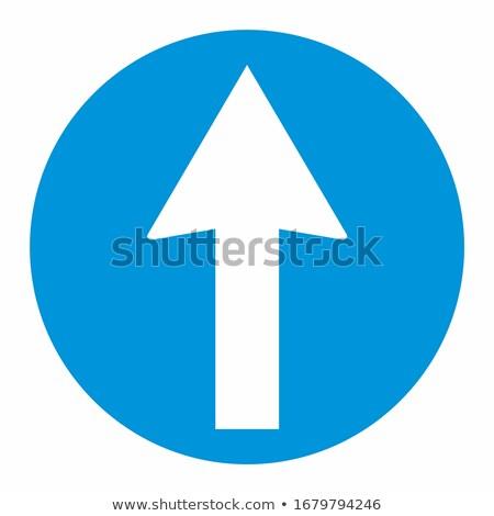 Mavi ok işareti el ahşap boyalı asılı Stok fotoğraf © FOTOYOU