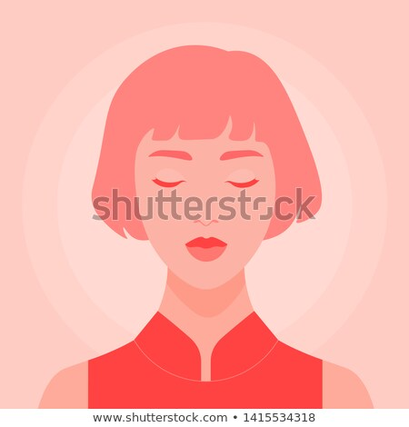 Koncentrált gondolkodik nő divat illustrator kép Stock fotó © deandrobot