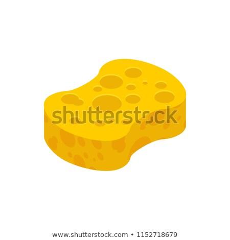 amarelo · esponja · branco · mão · adulto · homem - foto stock © maryvalery