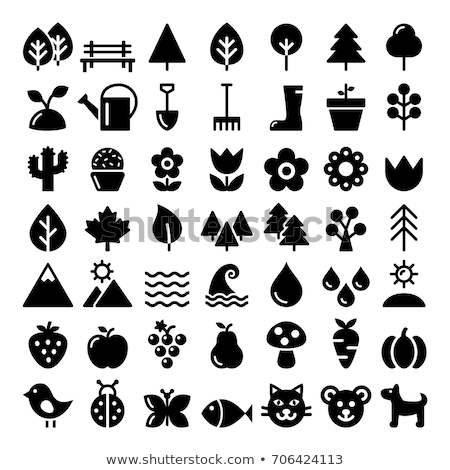 Nature vector icons set, park, outdoors animals, ecology, organic food design - big pack  Stock photo © RedKoala