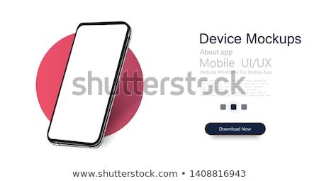 Stockfoto: Isometrische · mobiele · telefoon · kaart · 3D · smartphone · winkel