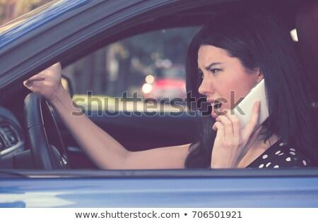 Yan profil öfkeli sürücü kadın konuşma Stok fotoğraf © ichiosea