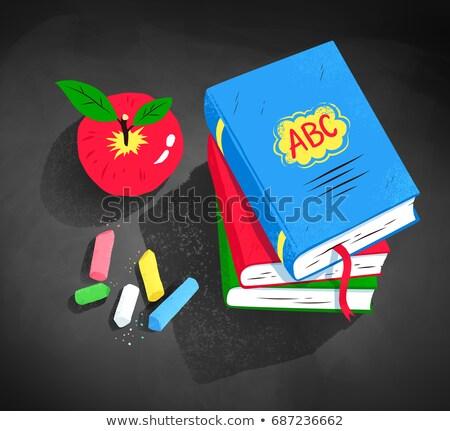 Top illustratie appel boeken Stockfoto © Sonya_illustrations