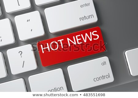 Stock photo: Hot News - Red Key. 3D Illustration.