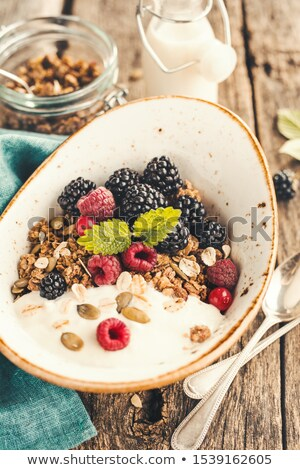 ミューズリー ヨーグルト 新鮮果物 プレート 白 青 ストックフォト © Digifoodstock