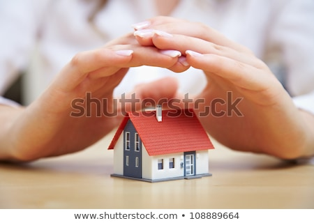 Female hands saving small house, Real estate business. insurance stock photo © snowing