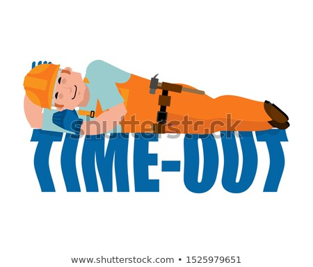 Builder sleeping isolated. Break in working time. Job Time out.  Stock photo © popaukropa