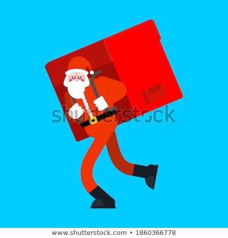 piros · tele · táska · ajándékok · mikulás · izolált - stock fotó © maryvalery