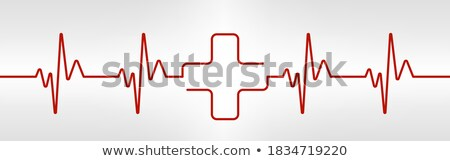 Stock photo: Heart cardiogram waves,Heartbeat Graph Red sign, One line pulse. vector
