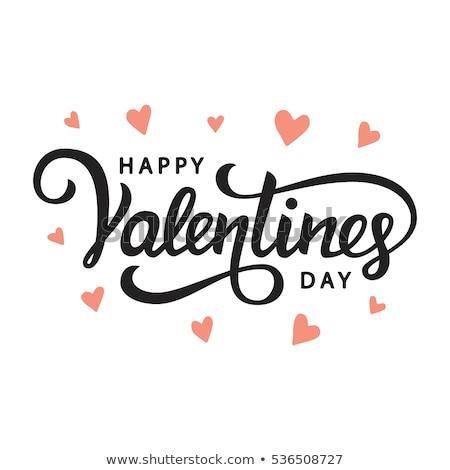 Mutlu sevgililer günü kaligrafi metin kalp şekli Stok fotoğraf © orensila
