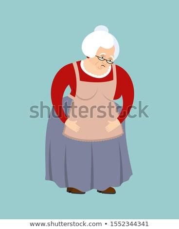 Grandmother sad emoji. Face grandma sorrowful isolated. Old lady Stock photo © popaukropa