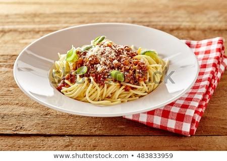 spagetti · domates · fesleğen · parma'ya · ait · plaka · domates - stok fotoğraf © peteer