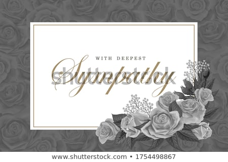 funeral card template with white and golden flowers stock photo © orson