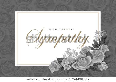 Cenaze kart şablon beyaz altın çiçekler Stok fotoğraf © orson